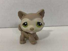 Littlest Pet Shop 358 tan gray husky green eyes puppy dog figure - $3.95