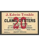 Fulton Fish Market NY Advertising Card Clams Oysters J. Edwin Treakle Ty... - $14.99