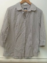 Riders by Lee easy care button front top black and white check 3/4 Sleeve L - $12.95