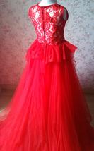 Pageant Red Lace Tutu High Waist Flower Girl Dress 2-Way Girl Birthday Dress NWT image 6