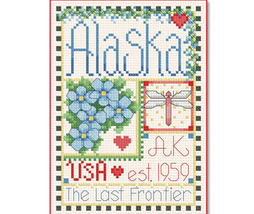 Alaska Little State Sampler cross stitch chart Alma Lynne Originals - $6.50