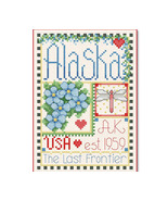 Alaska Little State Sampler cross stitch chart Alma Lynne Originals - $6.50