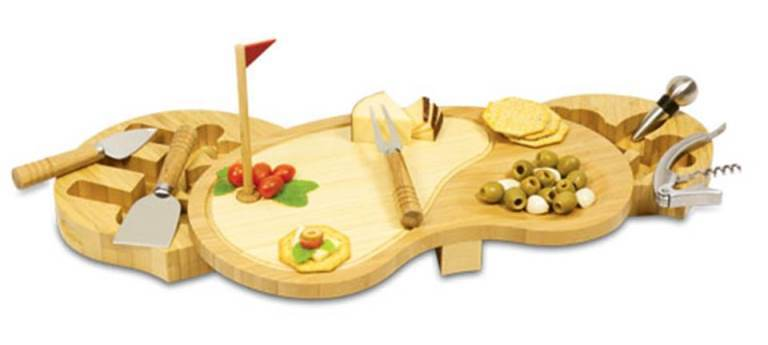 Bamboo Golf Course 3-D Cutting Board with Cheese & Wine Tools-Amazingly Crafte
