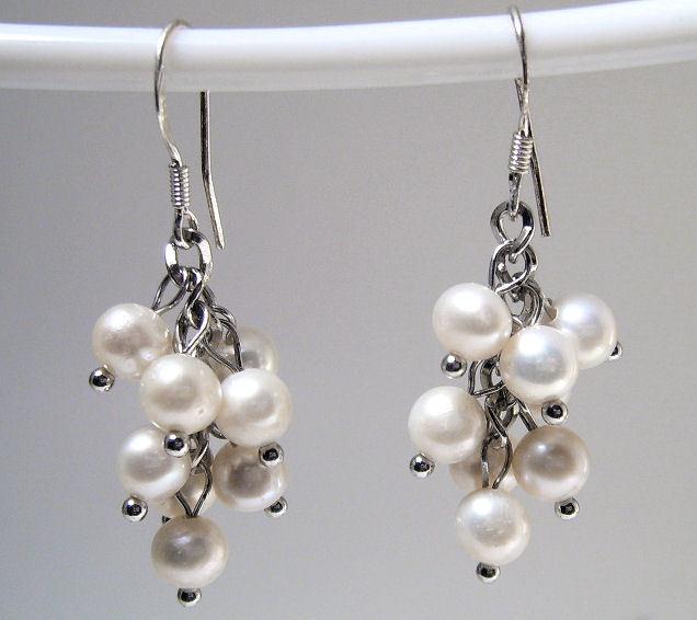 Earrings Sterling Silver Trendy Dangle White Pearls