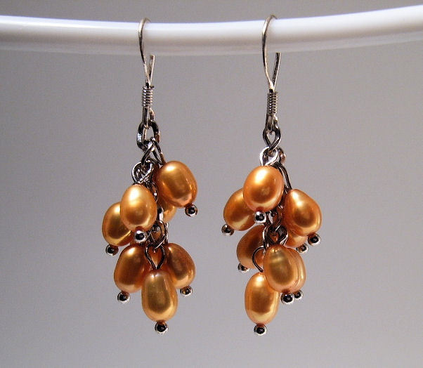 Earrings sterling cultured pearls gold