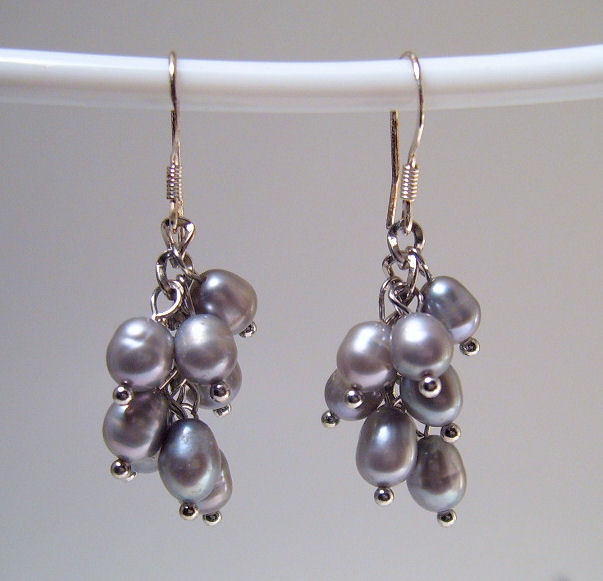 Earrings sterling cultured rice pearls gray