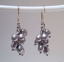 Earrings sterling cultured rice pearls gray thumb200