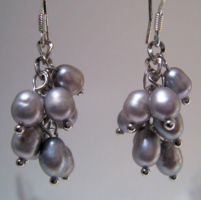 Earrings Sterling Silver Trendy Dangle Gray Pearls