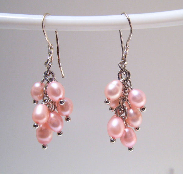 Earrings sterling cultured rice pearls pink