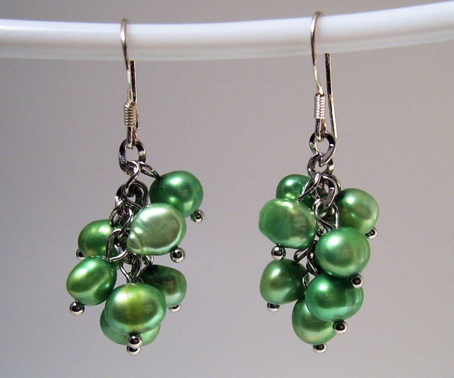 Earrings sterling cultured pearls green