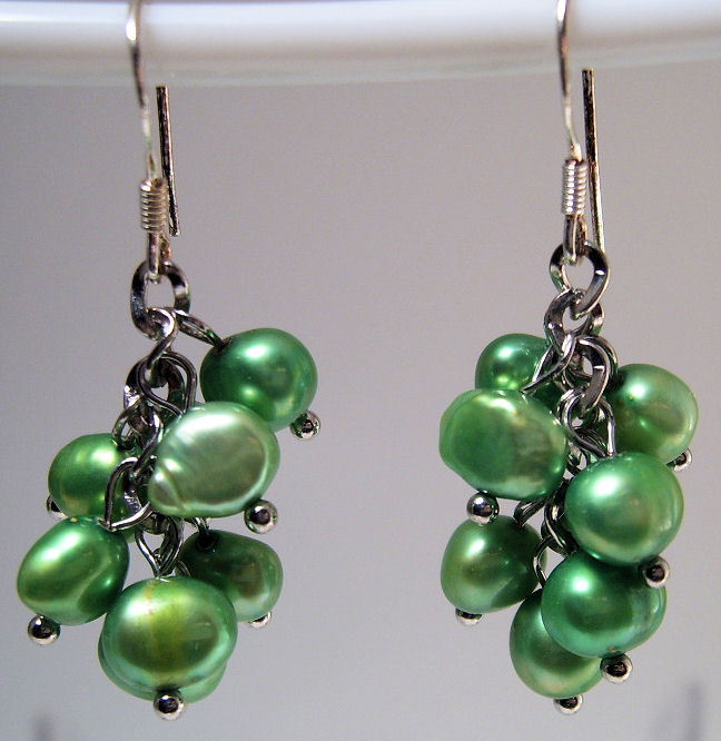 Earrings Sterling Silver Trendy Dangle Green Pearls