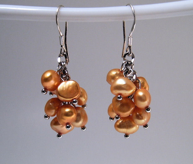Earrings sterling cultured rice pearls gold