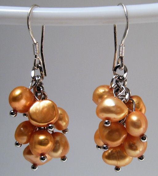 Earrings Sterling Silver Trendy Dangle Gold Pearls