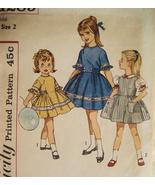 Simplicity 4289 Vintage 50s Pattern Girls 2 Full Skirt Bodice Dress - $9.95