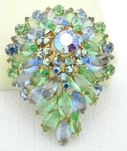 VTG JULIANA D&E Blue Green Rhinestone Large 3D Aurora Borealis Brooch - $222.75