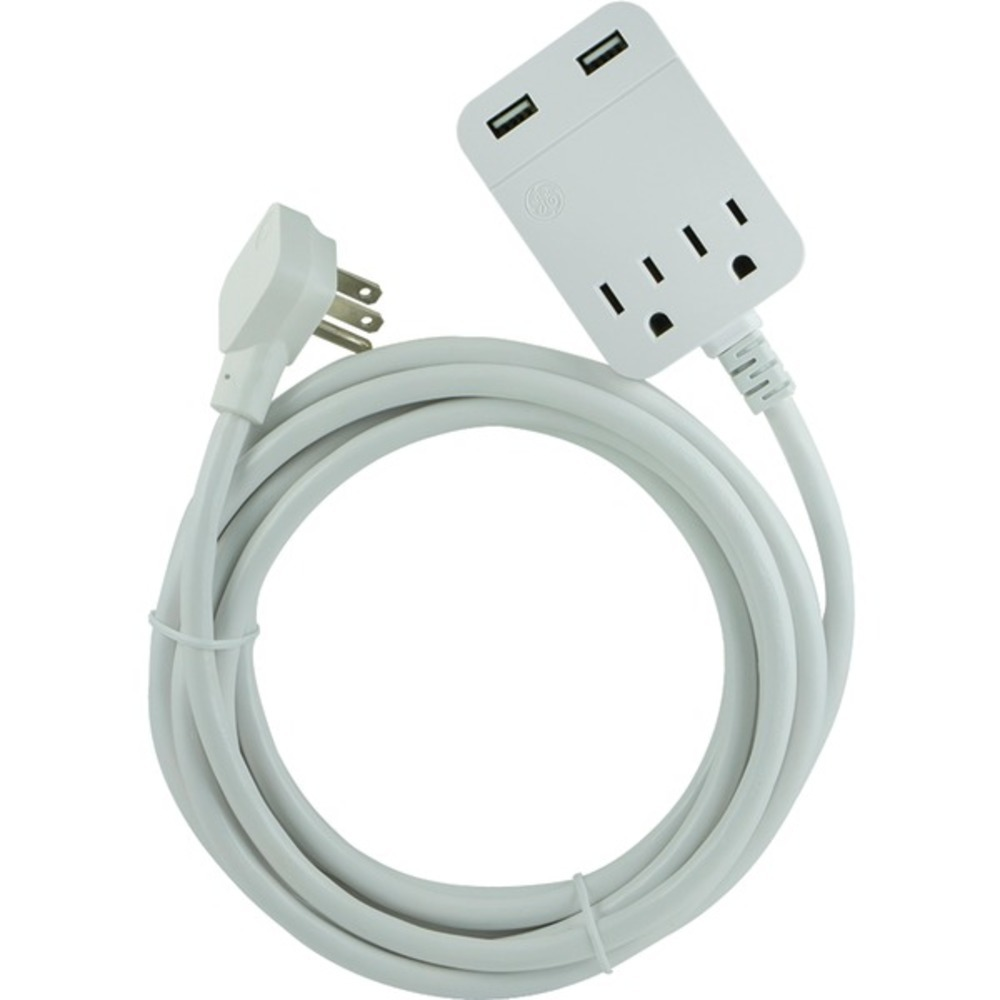 GE 32089 USB Extension Cord with Surge Protection, 12ft