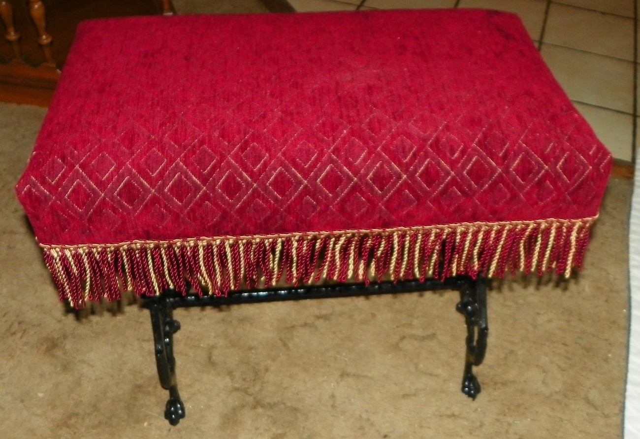 Primary image for Red Print Iron Vanity Bench