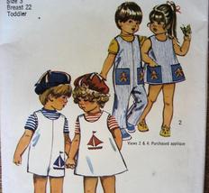 Vintage 1970s PatternToddler Size 3 Dress Overalls S9840 - $6.95