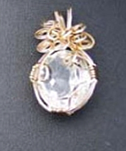 Jewelry By Two Gems (Wp4) 14KT GF Faceted Wire Wrap Crystal Quartz Pendant