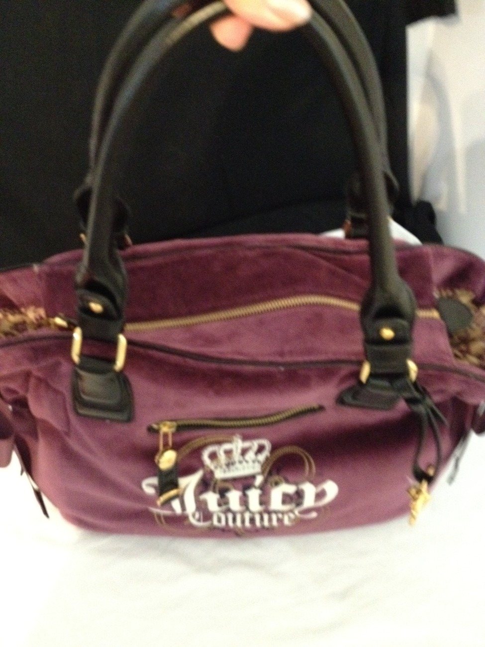 Juicy Couture Purple/Plum Velour Handbag with Golden Heart Charm - New with Tag