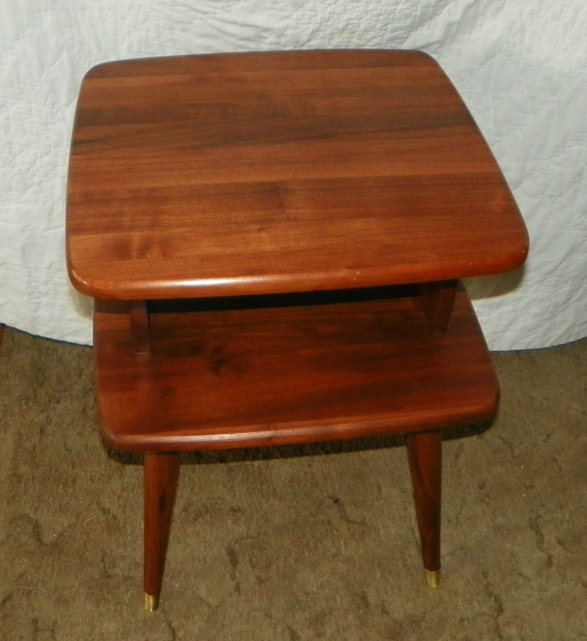 Primary image for Solid Walnut Retro 2 Tier End Table / Side Table  (T50)