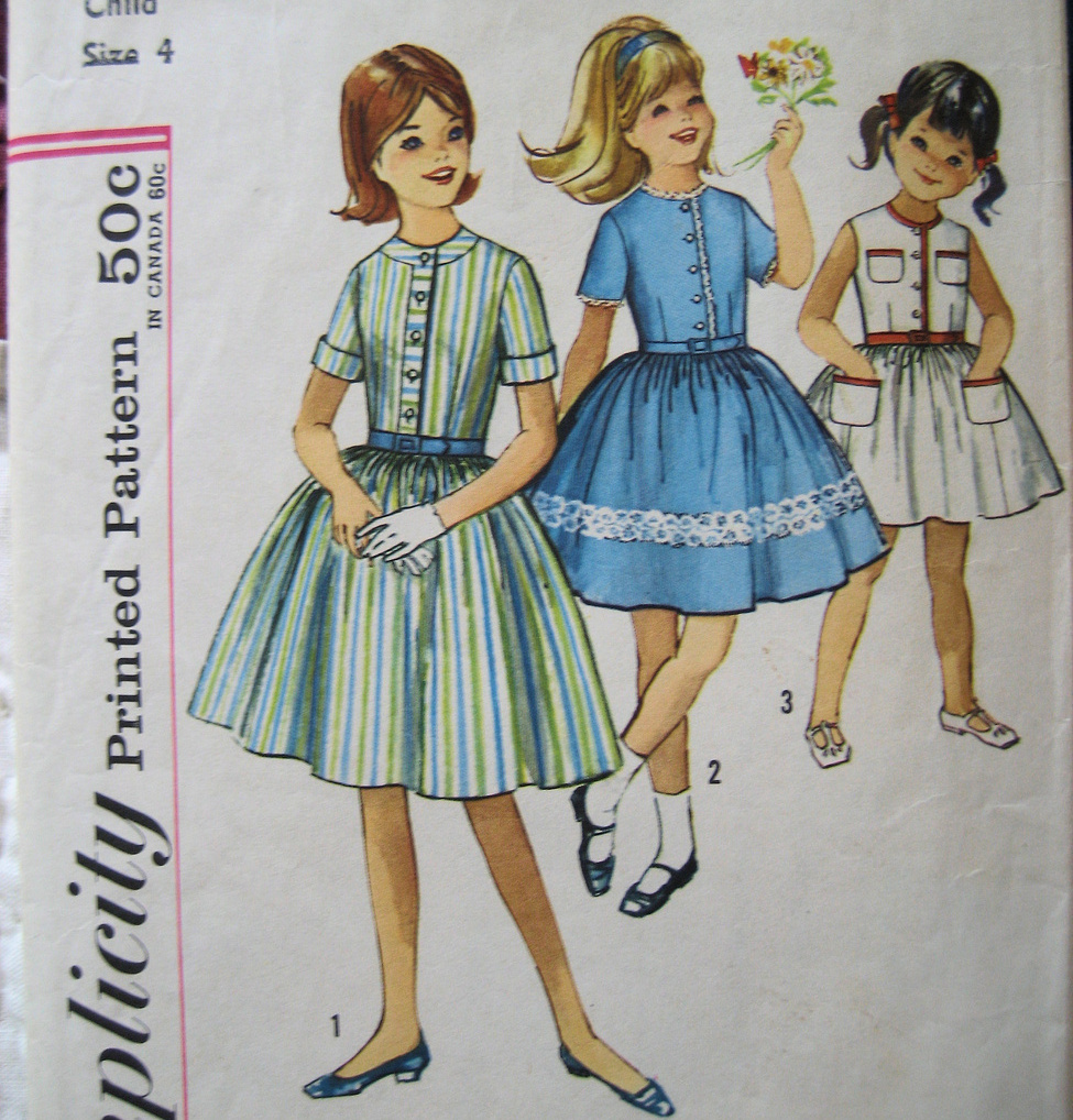 Simplicity 4869 Vintage Sewing 1950s Girls Size 4 Bodice Dress Full Skirt  Simplicity New Look