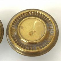 2 Vintage Brass Drawer Pulls Mushroom Knobs Handles Gold Old Patina  image 5