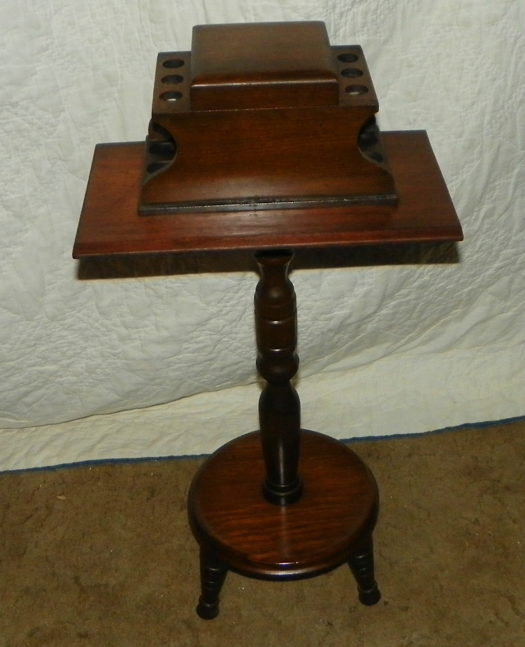 Primary image for Vintage Walnut 6 Pipe Stand / Table with Tobacco Well  (T242)