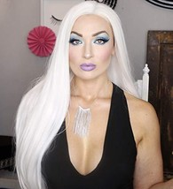 Morvally 24 inches Long Straight Lace Front Wigs 1001# Platinum White Na... - $44.10