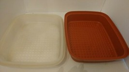 Vtg Tupperware Season Serve Lge Rust Colored Meat Marinade Container *Cl... - $7.91