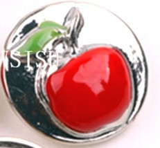 Red 3D Apple 18mm Snap Charm Interchangeable Jewelry For Ginger Snaps - $6.19