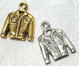 JEAN JACKET FINE PEWTER PENDANT CHARM - 14x18x3mm image 1