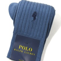 Polo Ralph Lauren Mens Dress Socks Ribbed w/Pony Embroidery Aegean Blue - $14.00