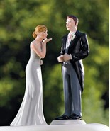 Bride Blowing Kisses Groom Morning Suit Cake Toppers Reception Gift Mix ... - $26.71+