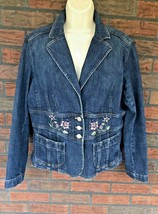Denim Jacket Size 12 Blue Stretch Trucker Blazer Embroidery Jones Wear J... - $34.30