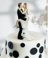 """Kissing Couple"" Wedding Cake Topper COMPLETE COLOR CUSTOMIZATION Avail. - $34.64"
