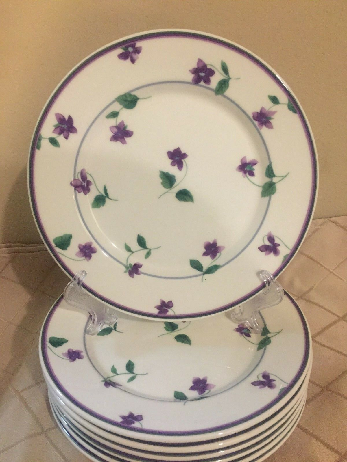 Waverly Sweet Violets Salad Plates - Lot of 6 Salad Plates - Great Condition! - $37.55