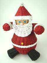 Vintage Santa Wicker Basket Christmas Storage Display - $29.65