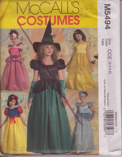 McCall's M5494 Costumes Sewing Pattern Girls sizes 3, 4, 5, 6 Princess and Witch