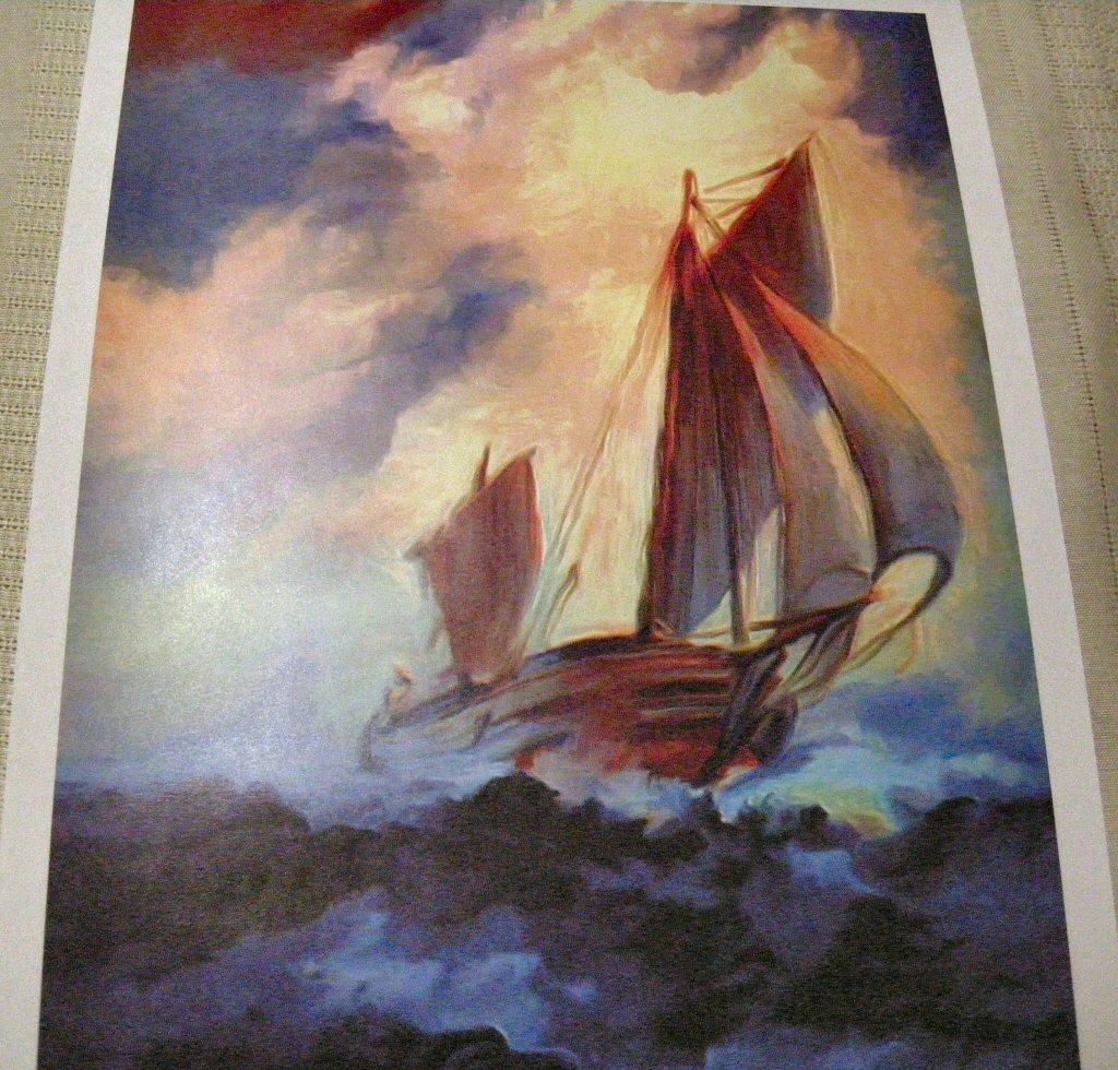 Famed Artist Print Sailship in Storm Med Sz
