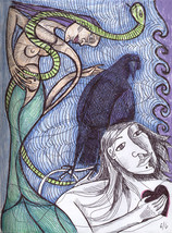 Custom Intuitive Drawing & Reading Story Pen Ink Handcolored Orig Signed... - $95.79