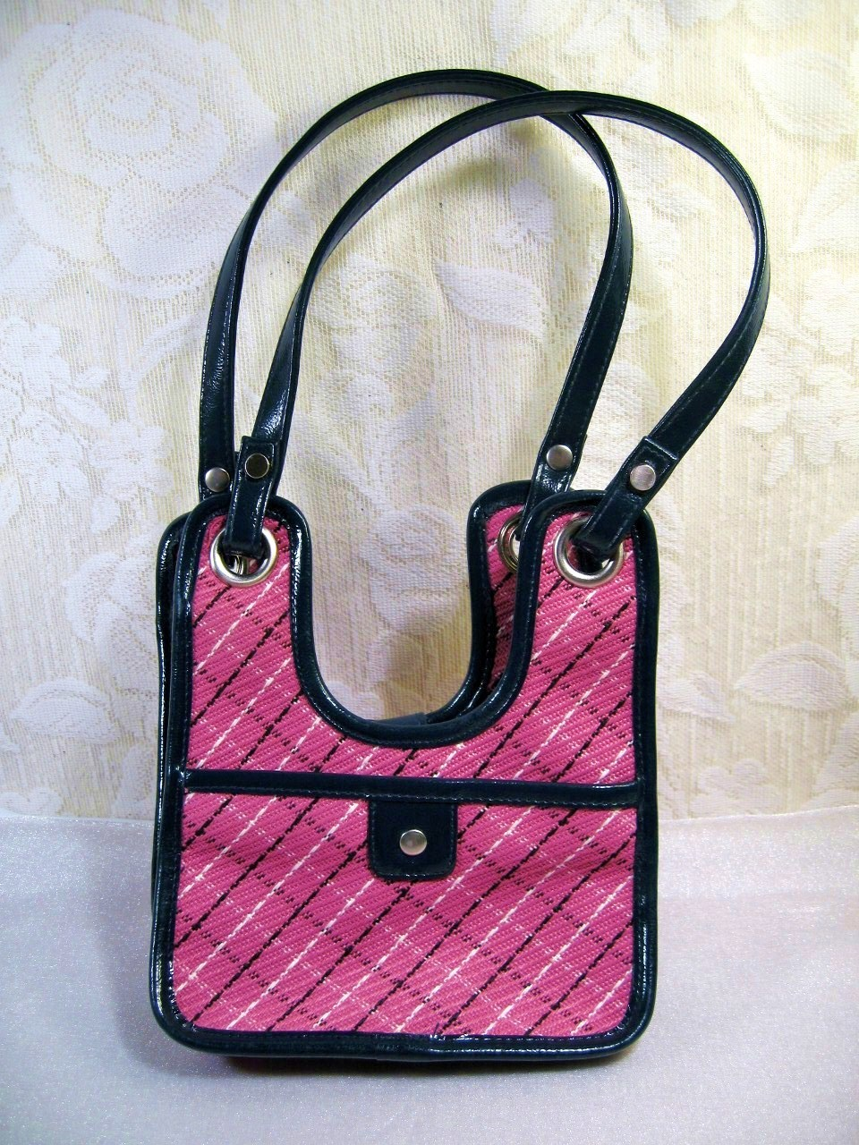 DKNY PINK/BLUE STRAPS leatherTRIM lady SMALL HAND BAG/ PURSE