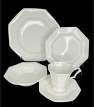 Nikko CLASSIC WHITE 5 Pc Place Setting Japan Dinner Salad Saucer Plates Bowl Cup - $64.34