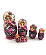 Russian Matryoshka Nesting Dolls Babushka 7 Piece Set Hand Painted Wood Wooden - £43.39 GBP