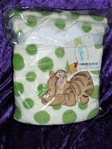 "DISNEY TIGGER Winnie the Pooh blanket fleece plush NWT 30x40"" Green  - $34.64"