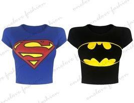 WOMENS LADIES SUPERMAN BATMAN PRINTED CAP SLEEVE CROP TOP COMIC T SHIRT TOP
