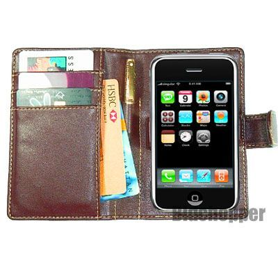 Iphone wallet leather casebrown1