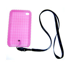 Pink Skin Case for iPod touch 4th w neckstrap strap - $0.87