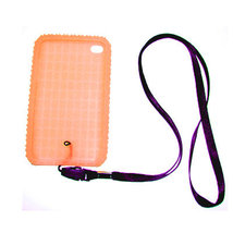 Orange Skin Case for iPod touch 4th w neckstrap strap - $0.99