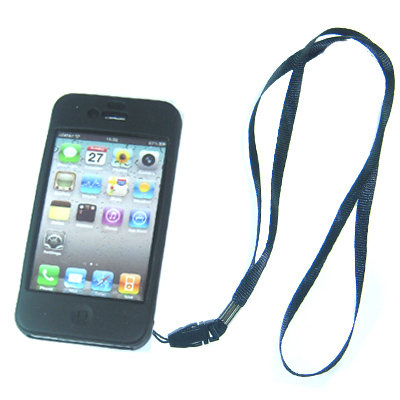 Black Skin Case Pouch for iPhone 4G + d neckstrap strap